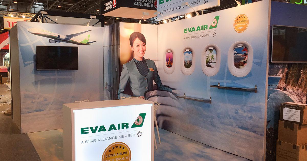 Conception de stands pour la compagnie aérienne Eva Air.