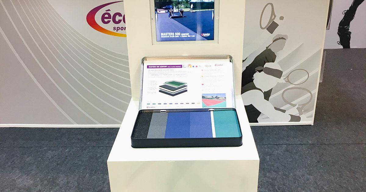 Conception et installation de stands pour Ecoplas - Peintures et revetements de sol sportifs à l'international.