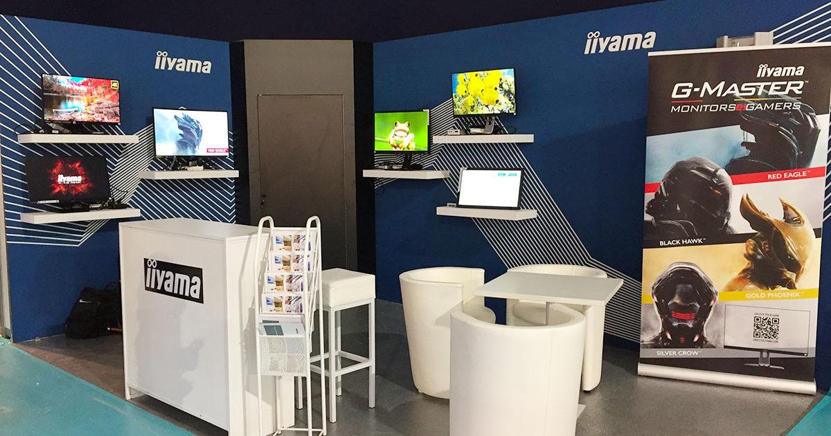 Conception stand sur mesure pour présentation de moniteurs d'écrans. Pour la société Iiyama