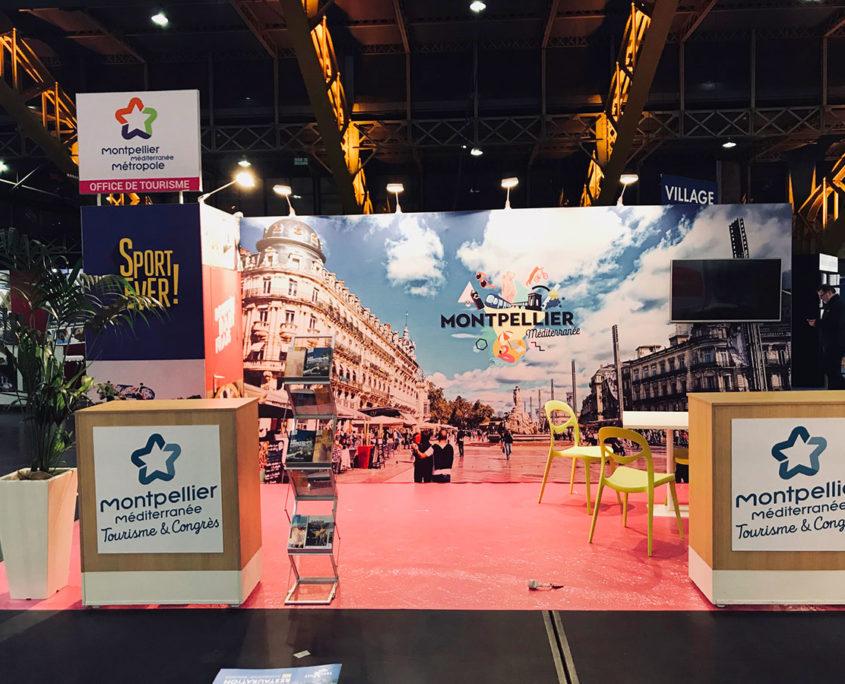 Conception et fabrication stand d'exposition Le Transversale pour l'office Tourisme de Montpellier.