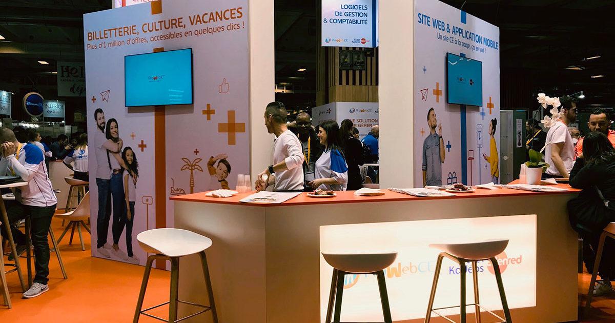 Conception et fabrication de stands et agencement d'espace pour prowebce sur le salon des comités d'entreprises 2018 à Paris Porte de Versailles