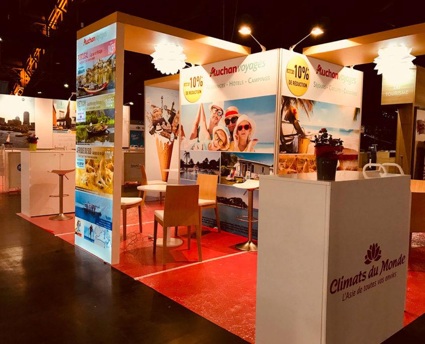 Conception et fabrication stand exposition Auchan Voyages sur salon Mahana Lyon