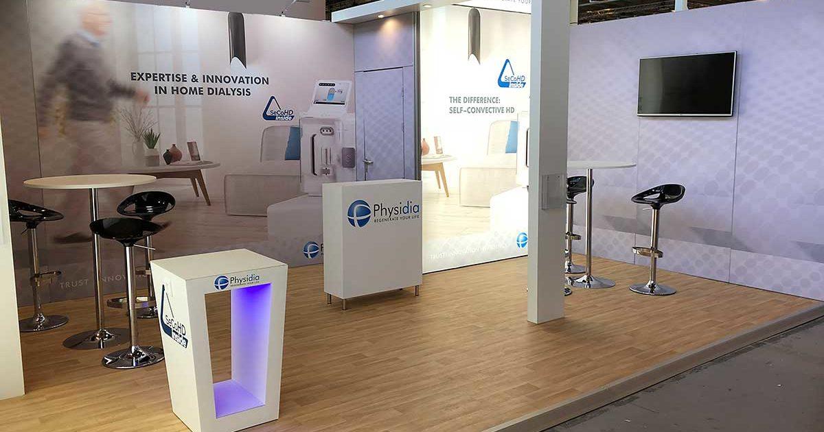 Conception, fabrication et installation d'un stand sur mesure pour congrès et exposition. Stand tournant en France et Europe
