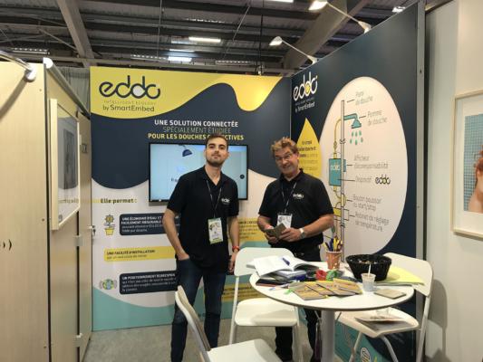 Conception de stand pour EddoEcology, tissus tendu et cadres aluminium pour salon SETT Montpellier