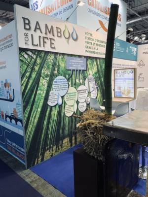 Conception fabrication et installation stand personnalisé Le Transversale pour EA Eco Entreprises - tissus 100% réutilisables location d'écrans plasma - enseignes hautes en tissu - stand pavillon